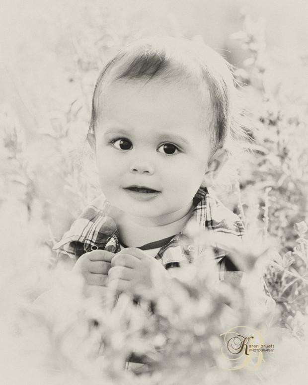 Infant Boy, Outdoor Bluebonnets, Vintage Finish