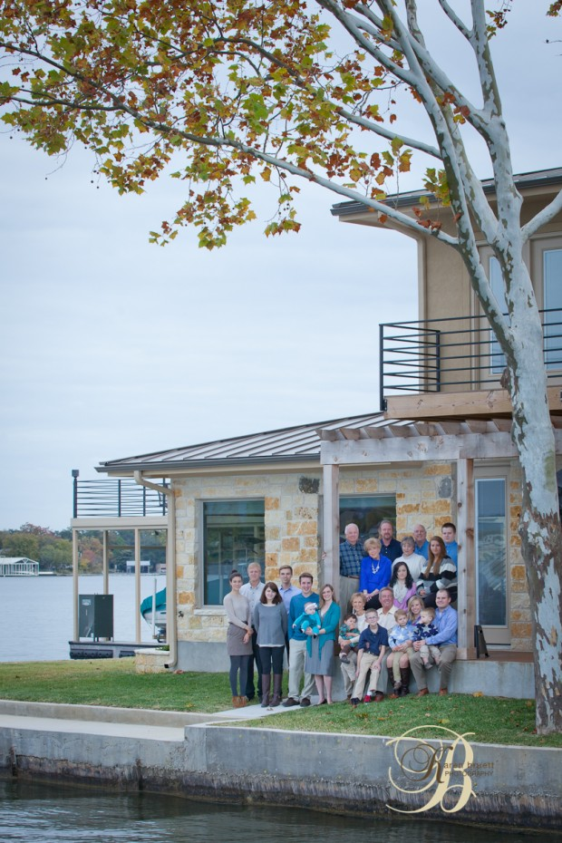 Outdoor family portrait, texas hill country, lake,